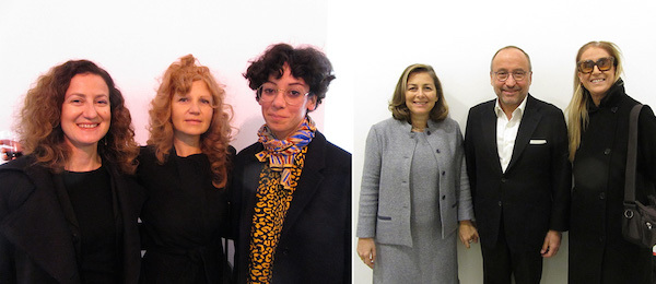 Left: Dealer Francesca Minini and artists Delia Gonzalez and Haris Epaminonda. Right: Dealer Laura Trisorio, collector Gianfranco D'Amato, and curator and MADRE VP Laura Cherubini.
