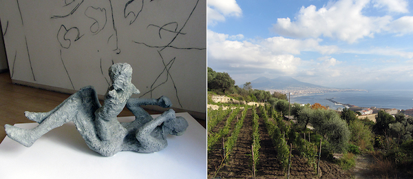 Left: Pompeii mother and child shown at MADRE. Right: View of Mount Vesuvius from the Vigna di San Martino.