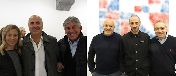 Left: Collectors Raffaella Sciarretta, Maurizio Morra Greco, and Stefano Sciarretta. Right: Collector and shoe designer Ernesto Esposito, artist Ricardo Passaporte, and dealer Francesco Annarumma.