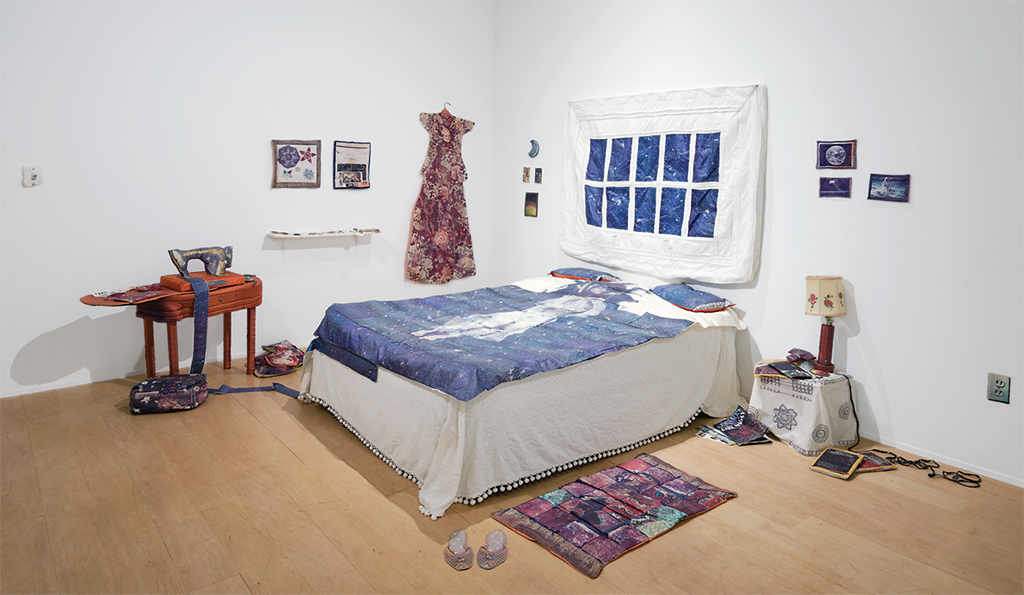 "Catherine Jansen, Sewing Space, 1981, thread, embroidery, xerography on cloth. Installation view. From ""Making /Breaking the Binary: Women, Art & Technology (1968–1985)."" Photo: Gideon Barnett."