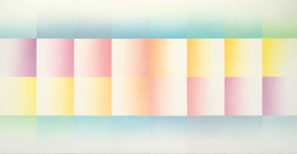 "Judy Chicago, Morning Fan, 1971, sprayed acrylic on acrylic, 60 × 120""."