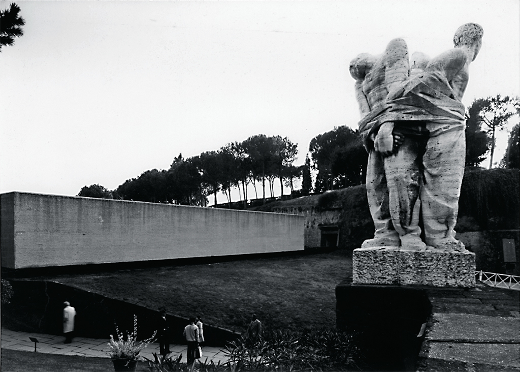"Mario Fiorentino's Monumento alle Fosse Ardeatine (Monument to the Victims of Fosse Ardeatine), 1947, Rome. From ""Zevi's Architects: History and Counter-History from Postwar to the End of the 20th Century."""