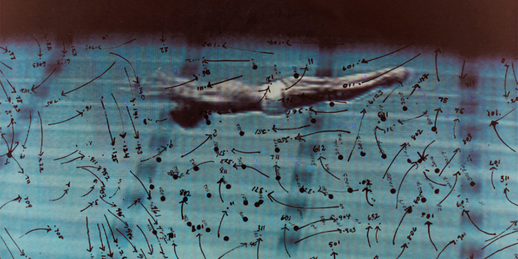 "Howardena Pindell, Video Drawings: Swimming, 1975, C-print, 11 × 14""."