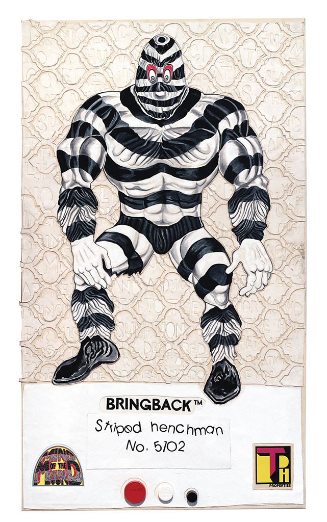 "Trenton Doyle Hancock, 8 Back Icon Series: Bringback—Striped Henchman, No. 5102, 2016, acrylic, canvas collage, and plastic bottle caps on canvas, 66 × 38"". From the series ""8 Back Icon Series,"" 2016."