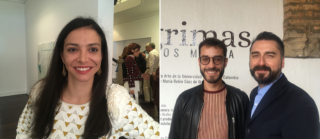 Left: Artbo director Maria Paz Gaviria. Right: Arist Carlos Motta and MALBA Artistic Director Agustín Pérez Rubio.
