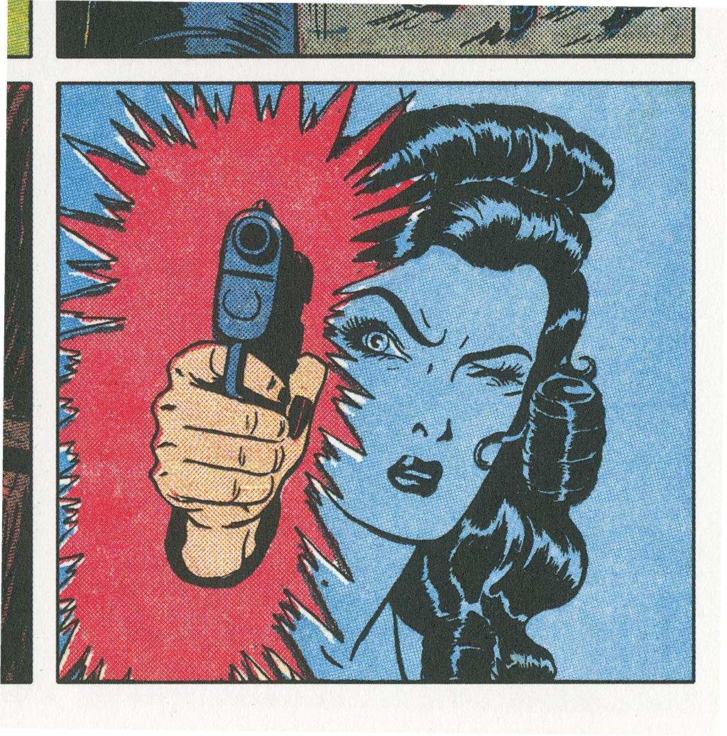 Detail of June Tarpé Mills's Miss Fury, May 10, 1942. Weekly Sunday strip. Photo: The Library of American Comics.