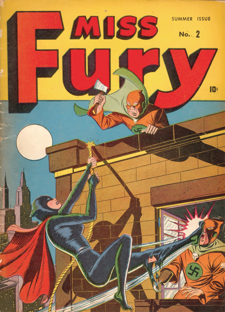 Cover of June Tarpé Mills's Miss Fury Comics, no. 2 (Timely Comics, Summer 1943).