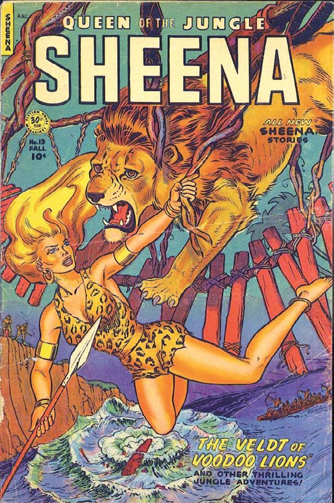 Cover of Will Eisner and Jerry Iger's Sheena, Queen of the Jungle, no. 13 (Fiction House, Fall 1951).