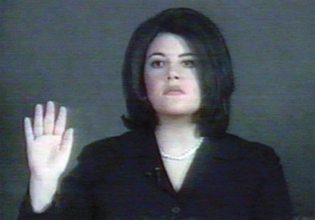 Still from Monica Lewinski's February 1, 1999 deposition video for the Senate impeachment trial of President Bill Clinton.