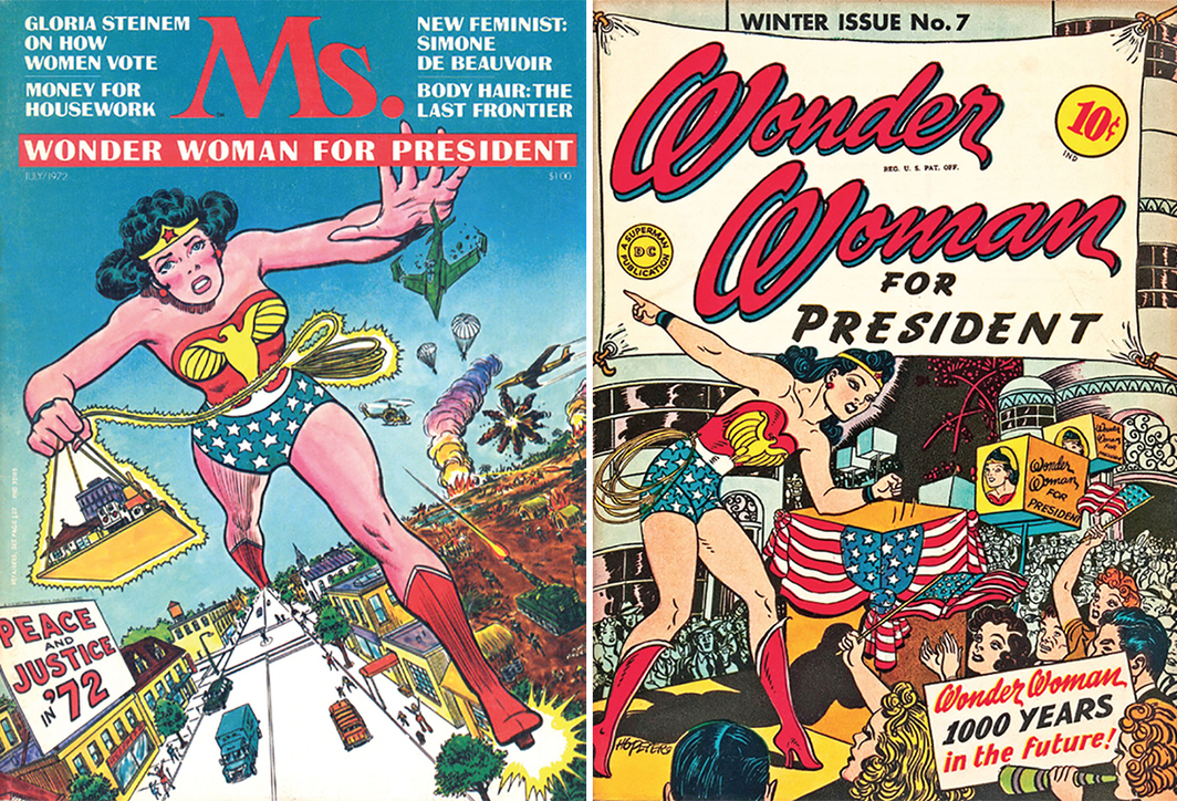 Left: Cover of Ms., July 1972. Right: Cover of Harry G. Peter's Wonder Woman, no. 7 (DC Comics, Winter 1943).