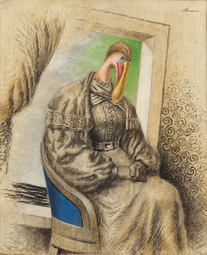 "Alberto Savinio, La vedova (The Widow), 1931, tempera on paper mounted on canvas, 21 5/8 × 18"". © Artists Rights Society (ARS), New York/SIAE, Rome."