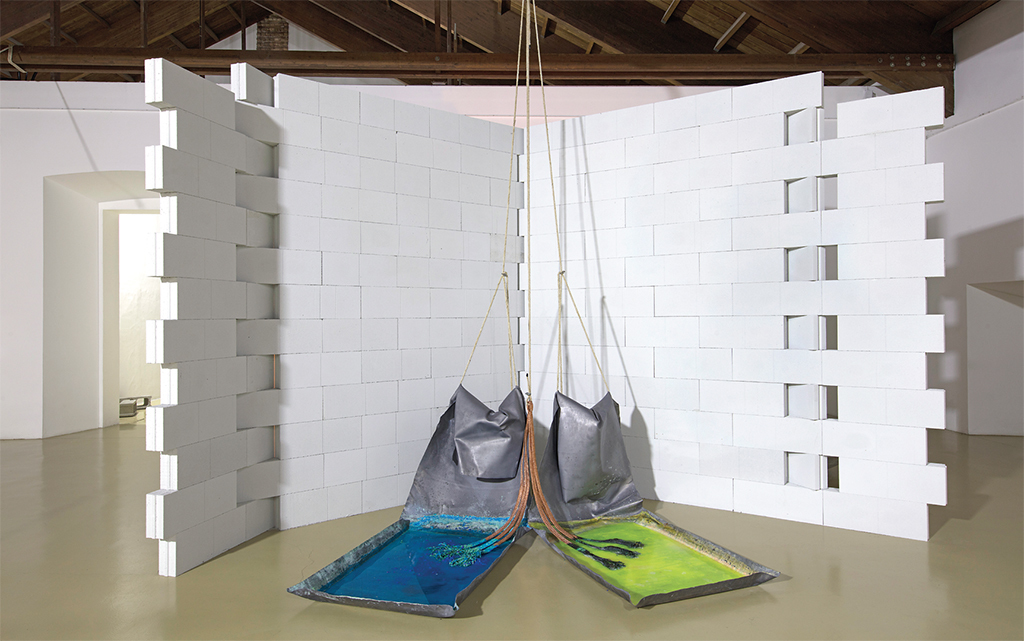 Gilberto Zorio, Piombi II (Lead II), 1968, lead sheets, copper sulfate, hydrochloric acid, fluorescein, copper braid, rope. Installation view, 2017. Photo: Antonio Maniscalco.