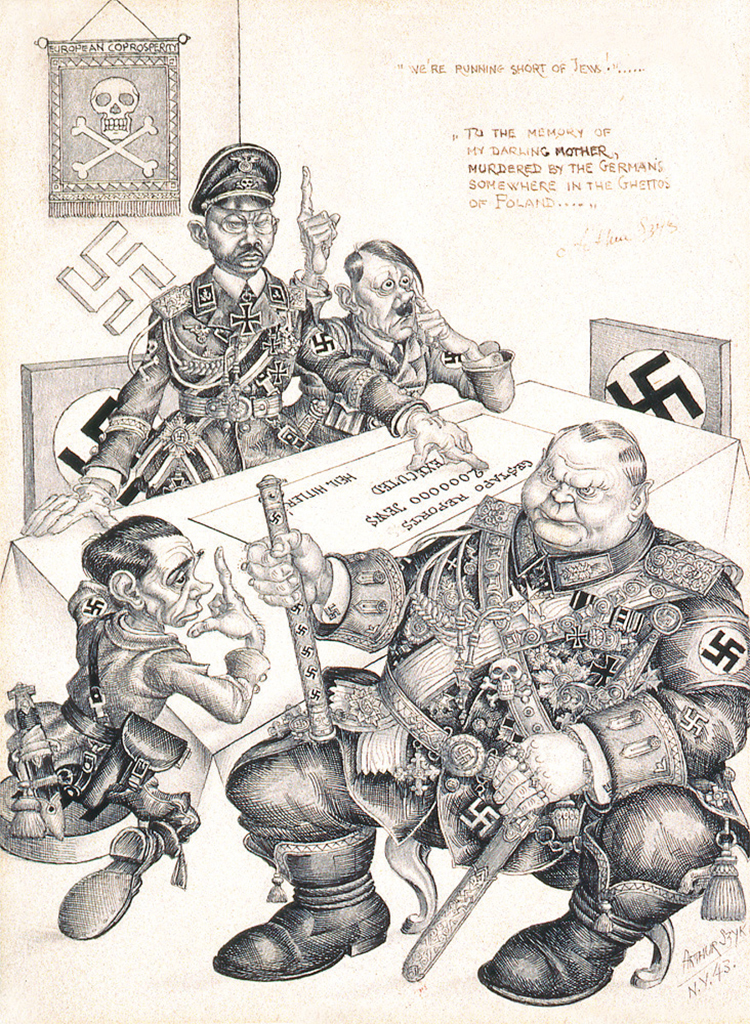 "Arthur Szyk, We're running short of Jews!, 1943, ink and graphite on paper, 8 1/4 x 5 7/8""."