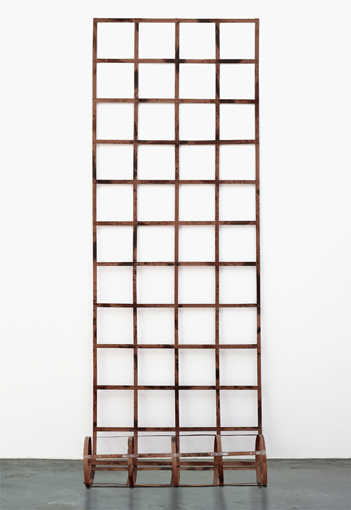 "Daniel Dezeuze, Untitled, 1977, stained wood, approx. 111 x 42 3/4 x 15""."