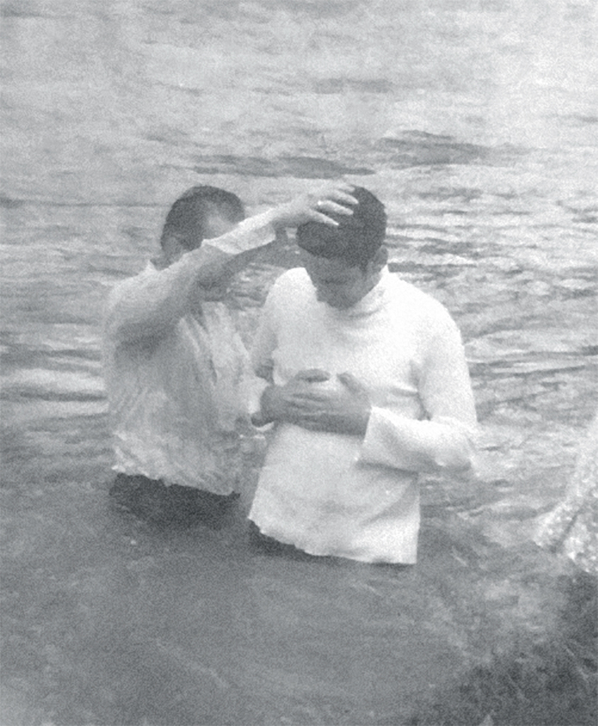 A member of the Church of God Ministry of Jesus Christ International being baptized, Bogotá, Colombia, 1973.