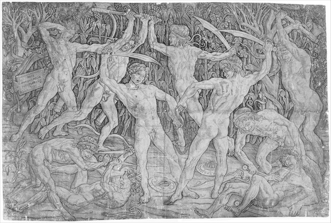 "Antonio Pollaiuolo, Battle of the Nudes, ca. 1470–90, engraving, 15 x 23""."