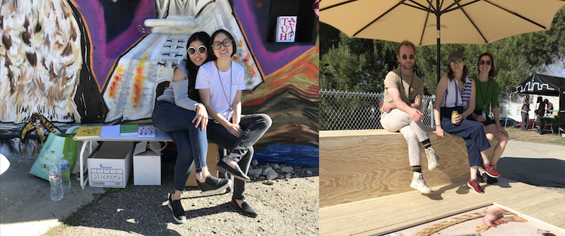 Left: Artists and publishers Alice Wang and Vivian Sming. Right: Artists Adam Stamp and Hannah Boone of Galerie LaCroix with artist Gal Amiram.