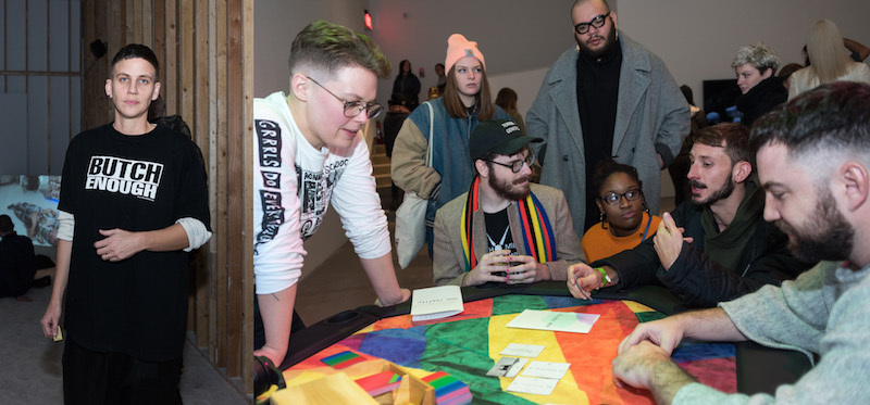 Left: Artist A.K. Burns. Right: Guests at the Institute of Contemporary Art, Philadelphia.