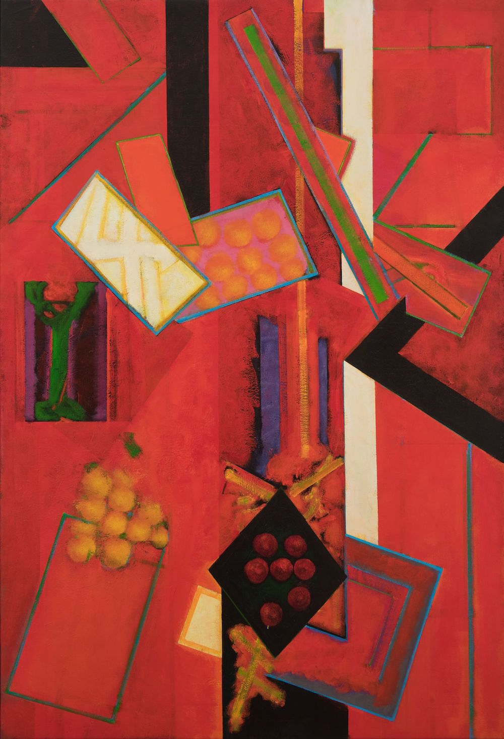 William Scharf, The Martyr's Ladder and the Harm Angel, 1998–2002, acrylic on canvas, 69 x 47.""