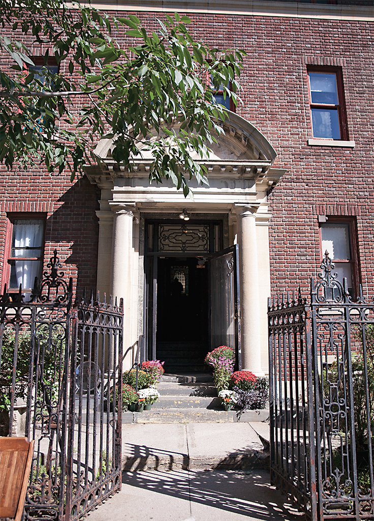 Entrance to Simone Leigh's Free People's Medical Clinic, 2014, Stuyvesant Mansion, Brooklyn, New York. Photo: Jackson Brady.