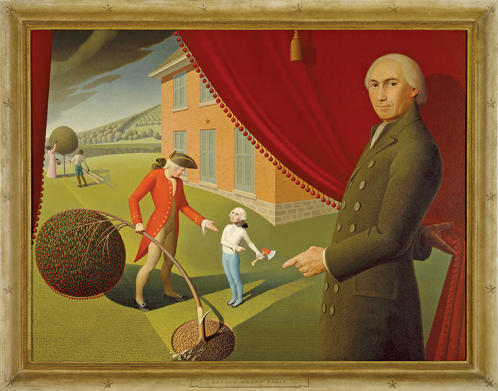"Grant Wood, Parson Weems' Fable, 1939, oil on canvas, 38 3/8 × 50 1/8""."