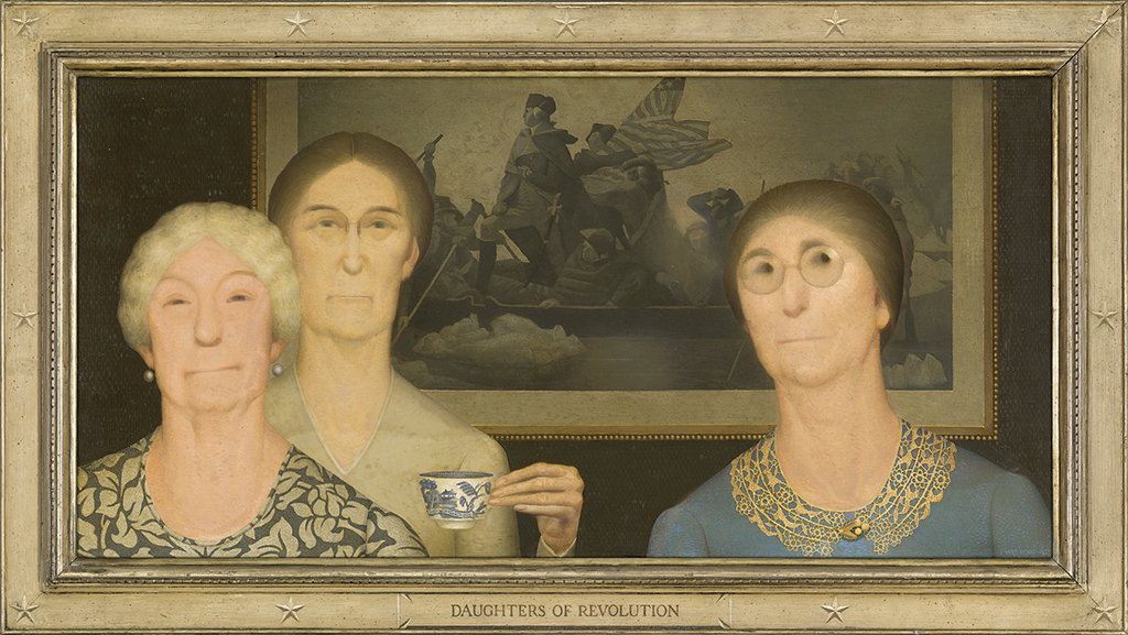 "Grant Wood, Daughters of Revolution, 1932, oil on Masonite, 20 × 40""."