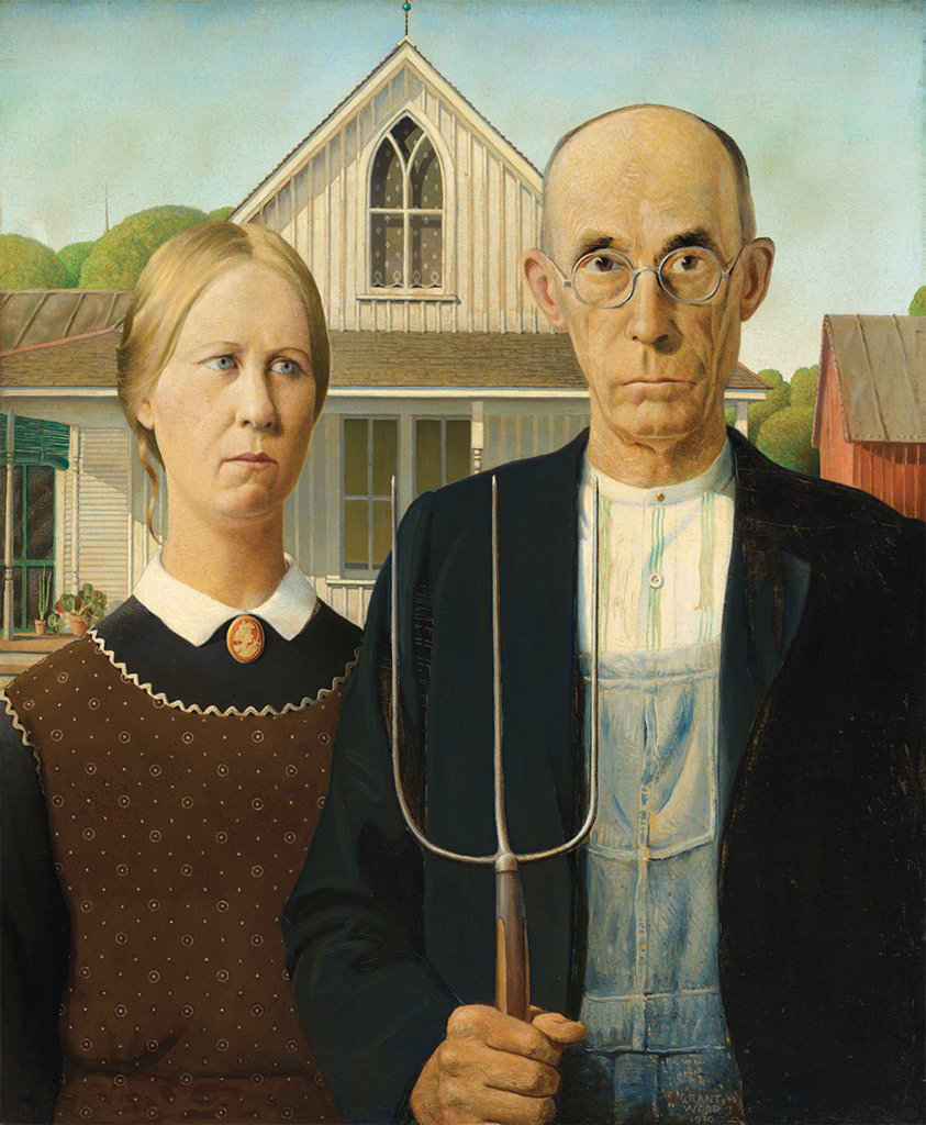 "Grant Wood, American Gothic, 1930, oil on beaverboard, 30 3/4 × 25 3/4""."