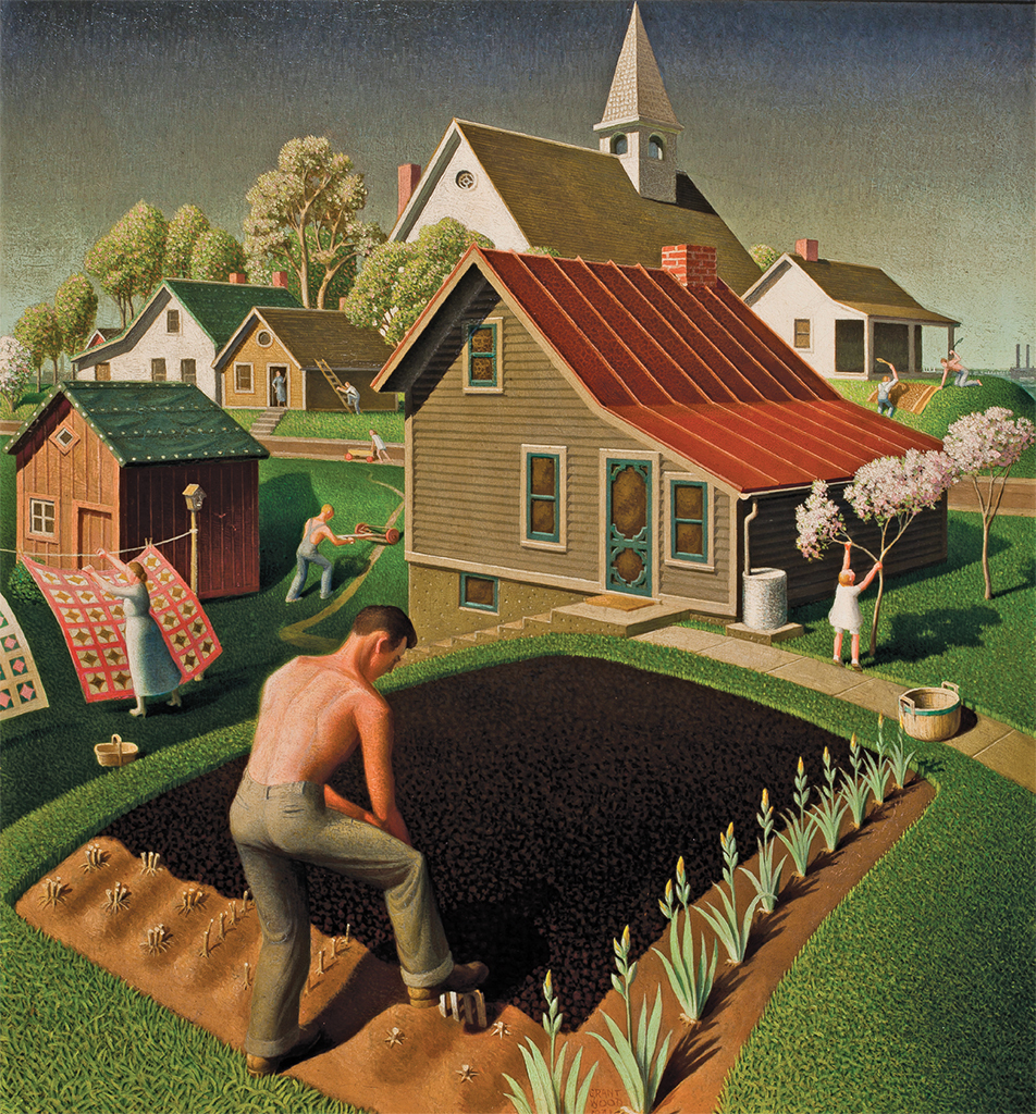 "Grant Wood, Spring in Town, 1941, oil on wood, 26 × 24 1/2""."