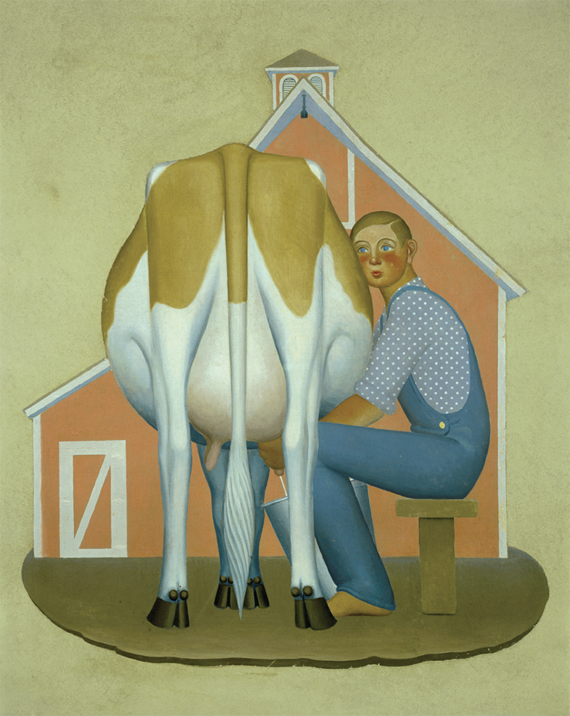 "Grant Wood, Boy Milking Cow, 1932, oil on canvas mounted on fiberboard, 71 1/4 × 63 1/2""."