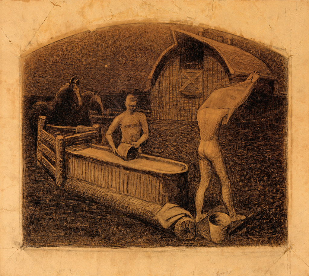 "Grant Wood, Saturday Night Bath, 1937, charcoal on paper, 24 × 26 7/8""."