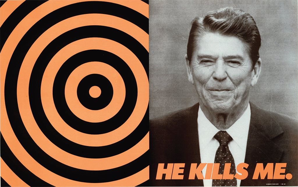 "Donald Moffett, He Kills Me, 1987, offset lithograph, 23 1/2 × 37 1/2""."