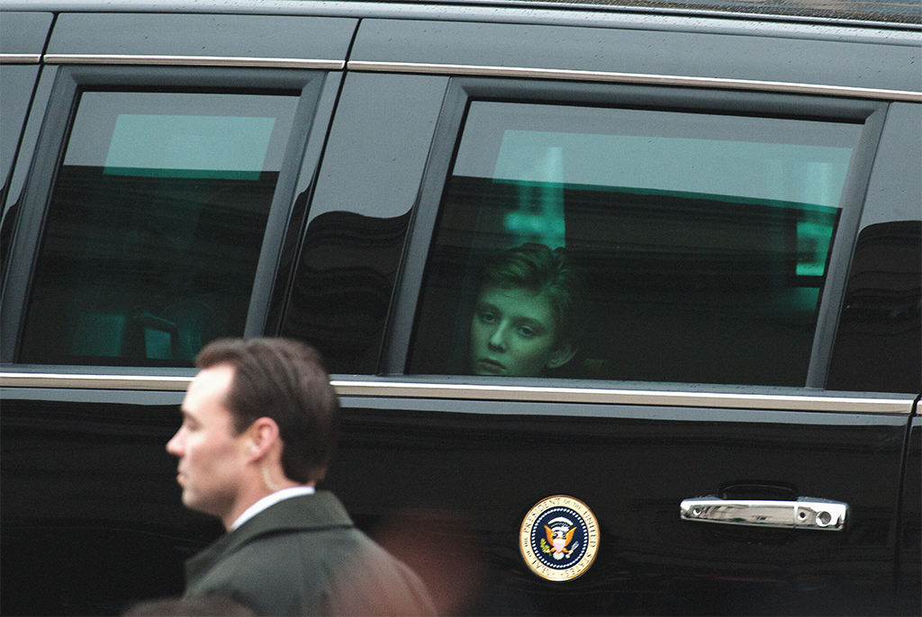 Barron Trump during Donald Trump's Inauguration Day parade, Washington, DC, January 20, 2017. Photo: Bryan Thomas/New York Times/Redux.