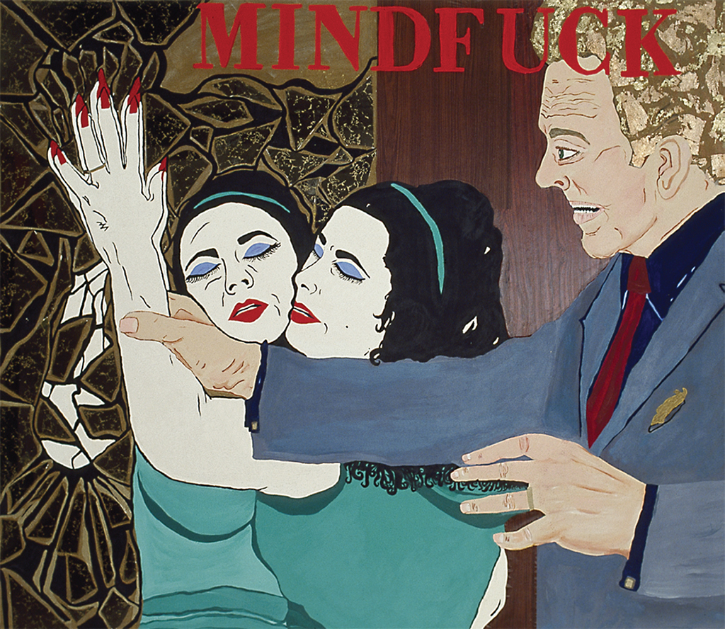 "Kathe Burkhart, Mindfuck: from the Liz Taylor Series (The VIPs), 1988, acrylic and mixed media on canvas, 82 x 96""."