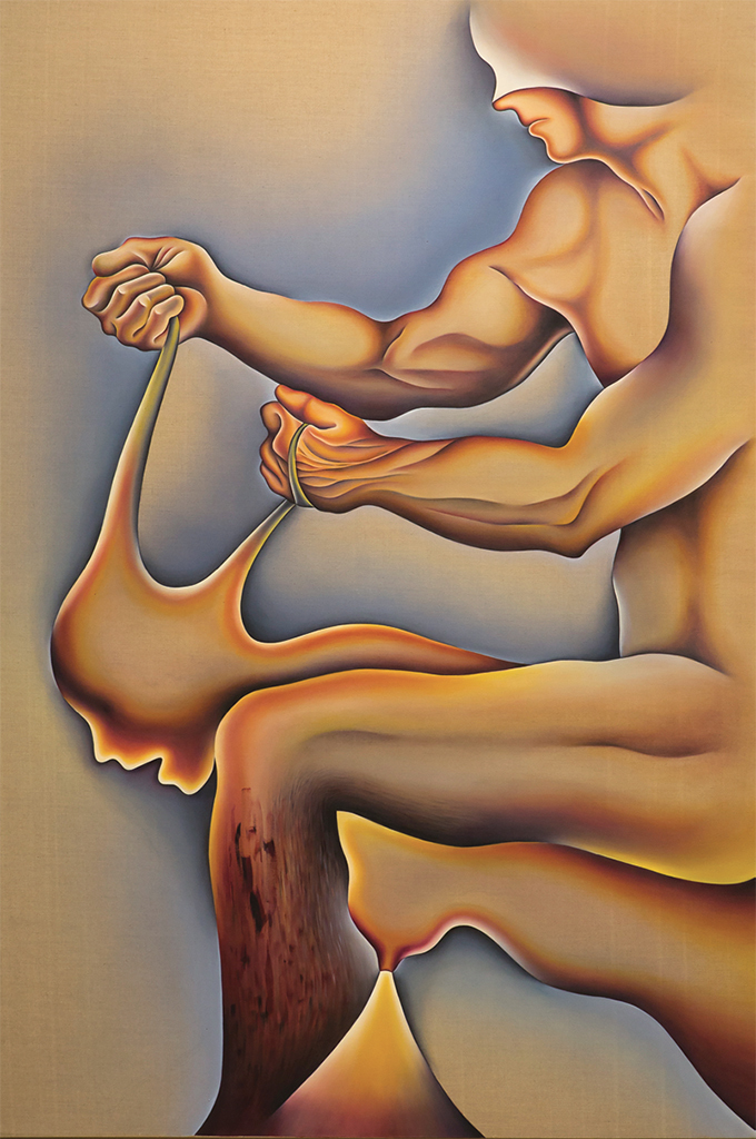 "Judy Chicago, Crippled by the Need to Control/Blind Individuality, 1983, acrylic and oil on linen, 108 x 72""."