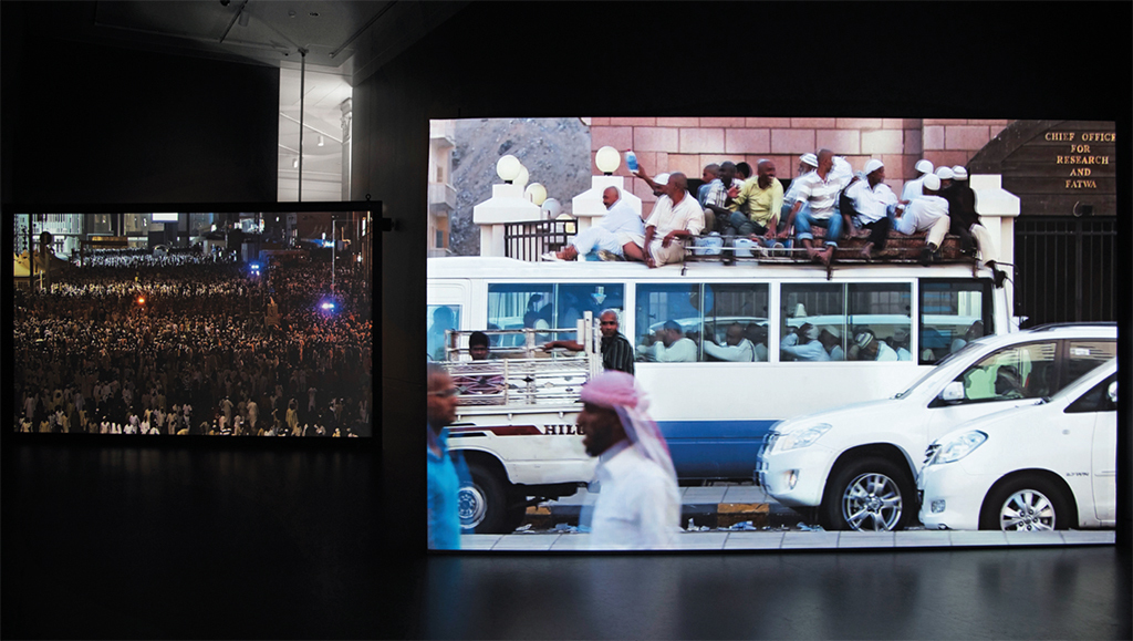 "View of ""Ahmed Mater,"" 2017. From left: Road to Mecca II, 2017; Road to Mecca I, 2017. Photo: Jonathan Dorado."