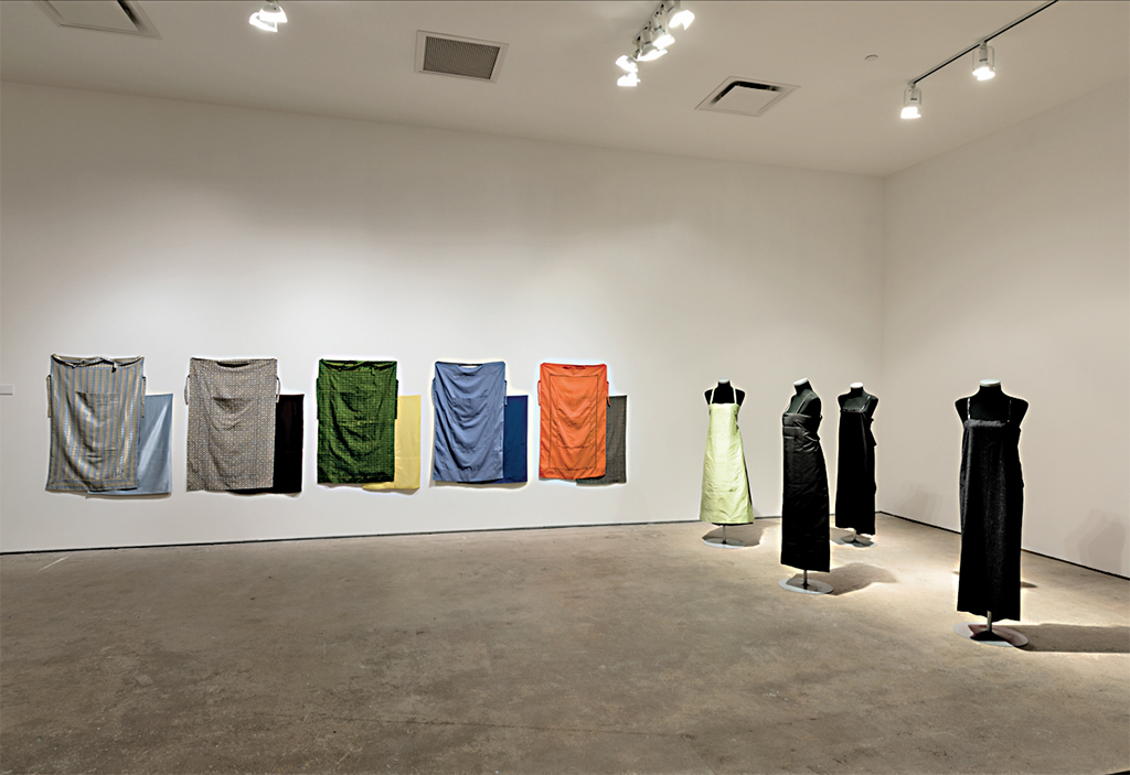 "View of ""Future Shock,"" 2017. Andrea Zittel, ""Panel Dress Series,"" 1995–98. Photo: Eric Swanson."