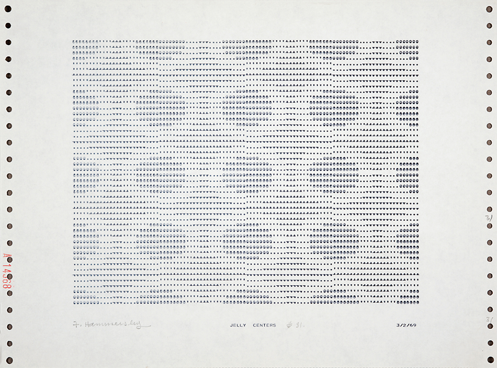 "Frederick Hammersley, JELLY CENTERS, #31, 1969, computergenerated drawing on paper, 11 x 15"". © Frederick Hammersley Foundation."