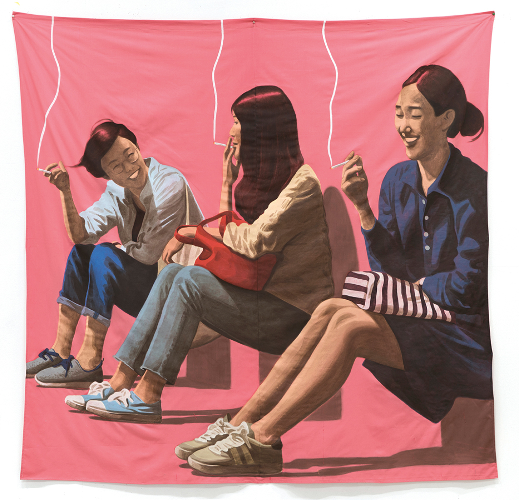 "Lee Woosung, Four of Us Gathered by Chance, and We Had Drinks, 2017, acrylic gouache and gesso on fabric, 86 5/8 x 86 5/8""."