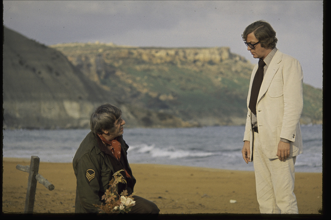 Mike Hodges, Pulp, 1972, 35 mm, color, sound, 95 minutes. The Partisan (Amerigo Tot) and Mickey King (Michael Caine).