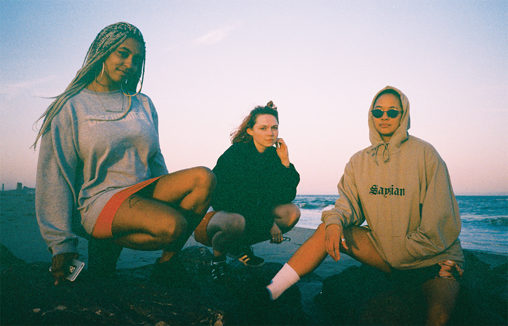*Discwoman founders, Fort Tilden, New York, June 2017*. From left: Frankie Decaiza Hutchinson, Emma Burgess-Olson, and Christine McCharen-Tran. Photo: Aurora Halal.