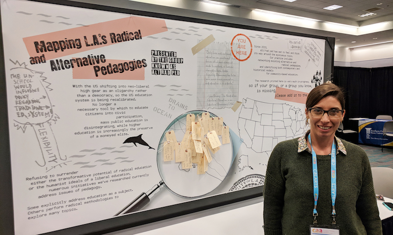 "Stephanie Sabo of Alt Rad Ped in front of their poster session, ""Mapping LA's Radical and Alternative Pedagogies."" (Photo: Andy Campbell)"