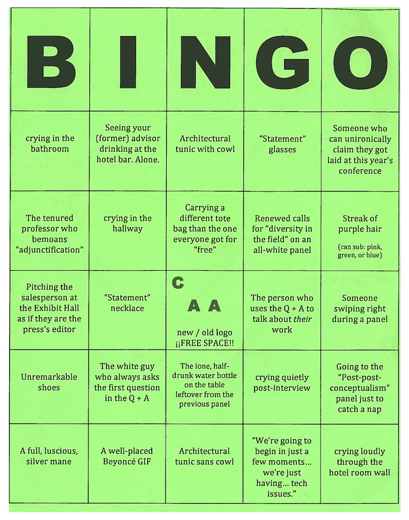 Anonymous CAA bingo card. (Photo: Andy Campbell)