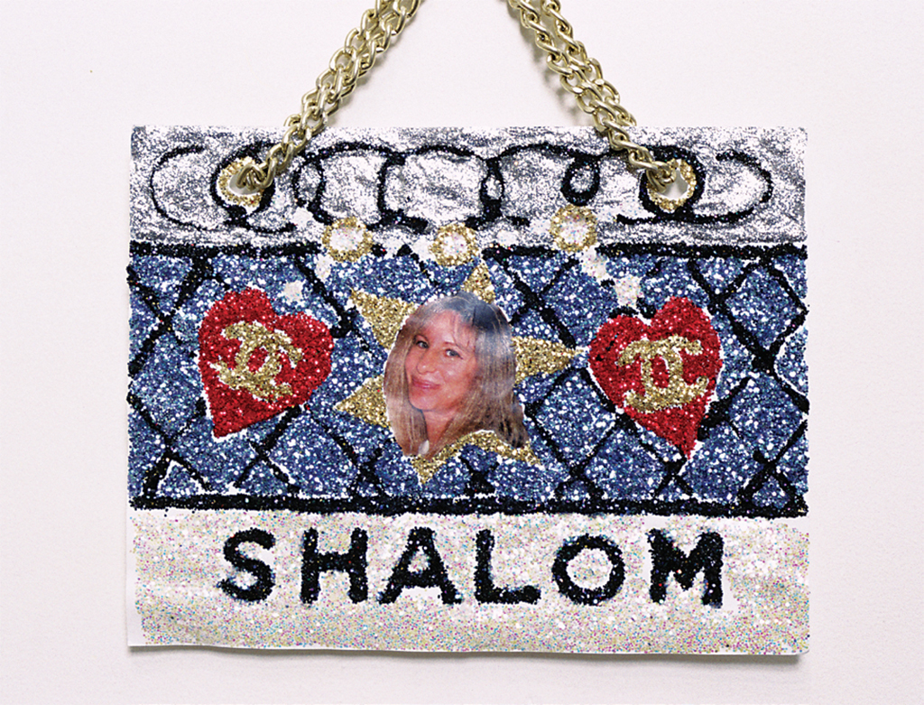 "Rhonda Lieberman, Shalom (Barbra), 1992, glitter, mixed media, 9 × 11"". From the series ""Purse Pictures,"" 1992."