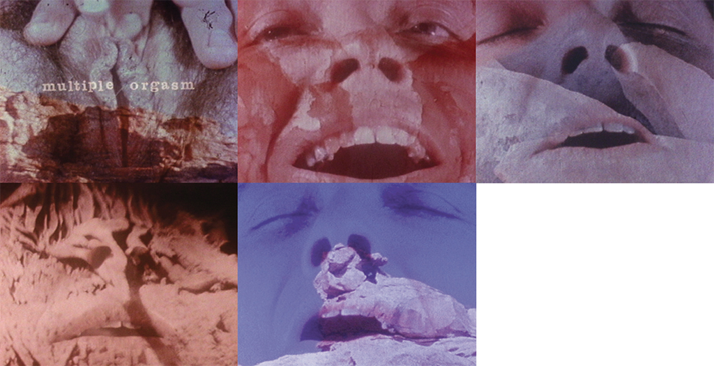 Five stills from Barbara Hammer's Multiple Orgasm, 1976, 16 mm transferred to digital video, color, silent, 5 minutes 32 seconds.