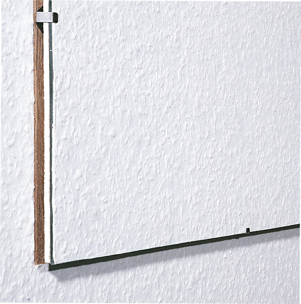 "Karin Sander, Untitled, 1993, wood-chip wallpaper from Art Cologne, clip frame, 19 3/4 × 15 3/4""."