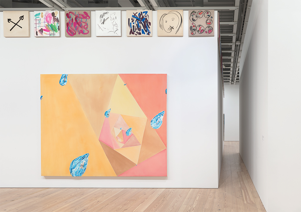 "View of ""Laura Owens,"" 2017–18, Whitney Museum of American Art, New York. Center: Untitled, 1996. Top: Untitled, 2011–12. Photo: Ron Amstutz."