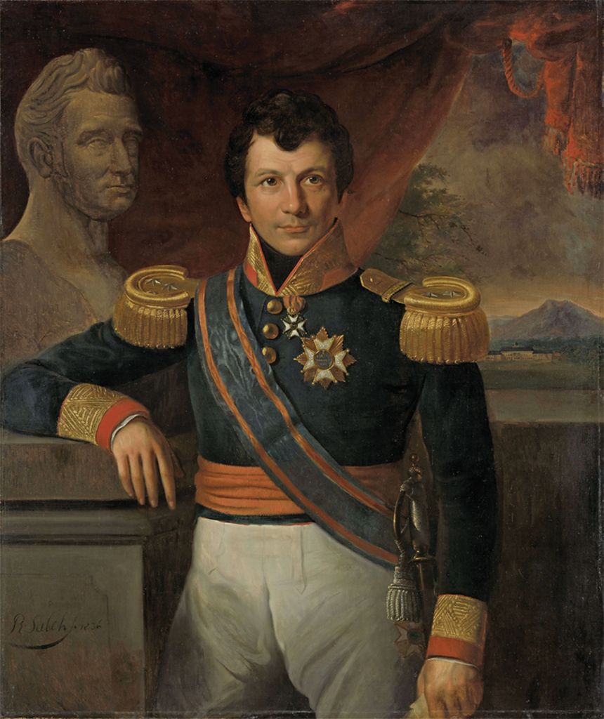 "Raden Saleh, Portrait of Johannes, Graaf van den Bosch, Governor General of the Dutch East Indies, 1836, oil on canvas, 45 1/4 × 38 1/4""."