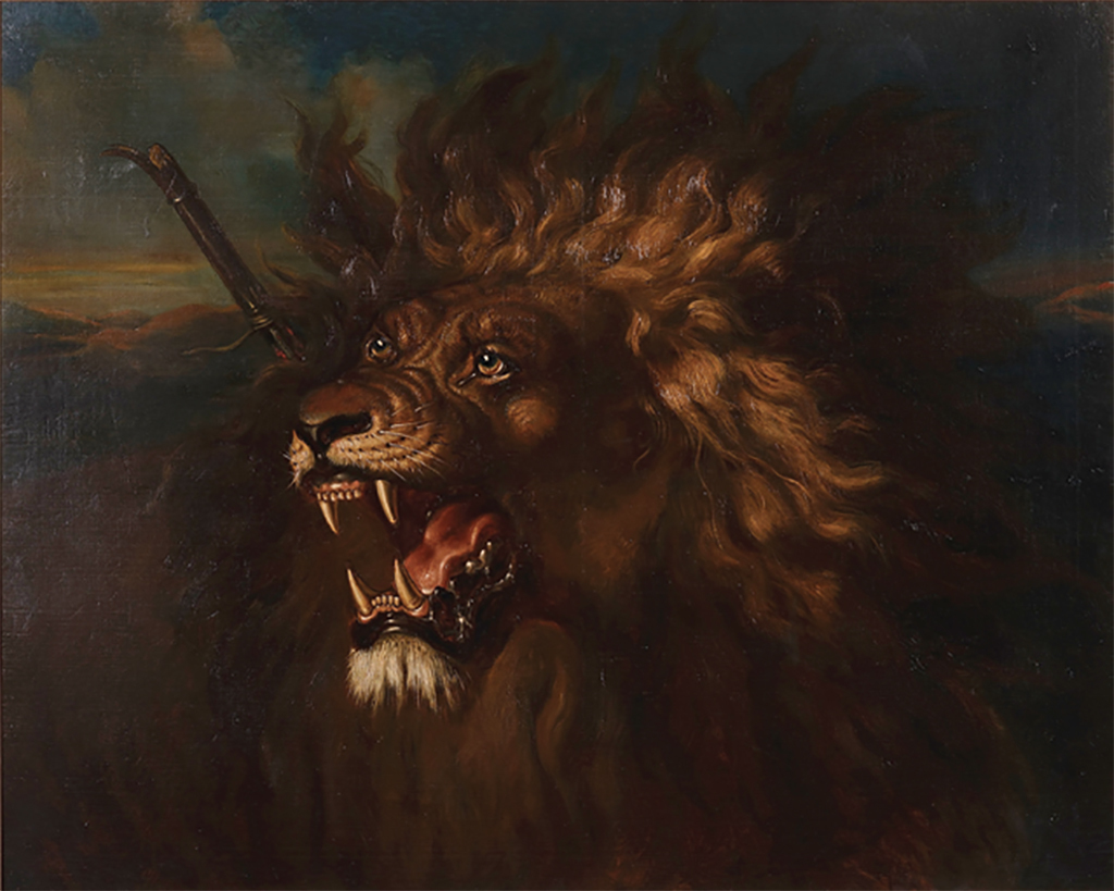 "Raden Saleh, Wounded Lion, ca. 1838, oil on canvas, 34 5/8 × 42 1/2""."