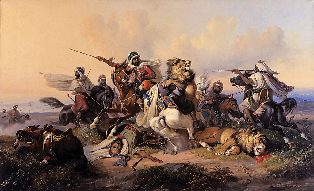 "Raden Saleh, Lion Hunt, 1841, oil on canvas, 34 3/4 × 56""."