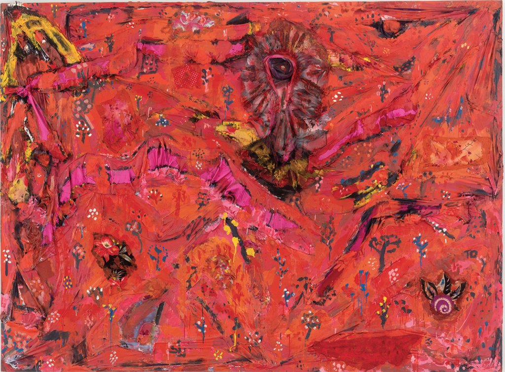 "Thornton Dial, Ground Zero: Decorating the Eye, 2002, clothing, enamel, spray paint, and epoxy on canvas, 76 1/2 x 108 x 4"". © Estate of Thornton Dial."